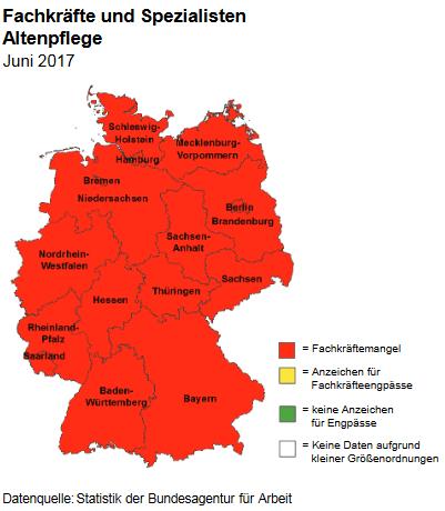 Biểu đồ báo động về mức độ thiếu hụt lao động ngành điều dưỡng tại Đức