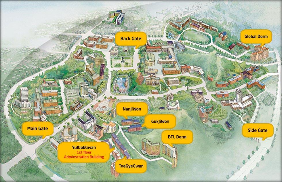 Sơ đồ Khuôn viên Đại học KNU Hàn Quốc