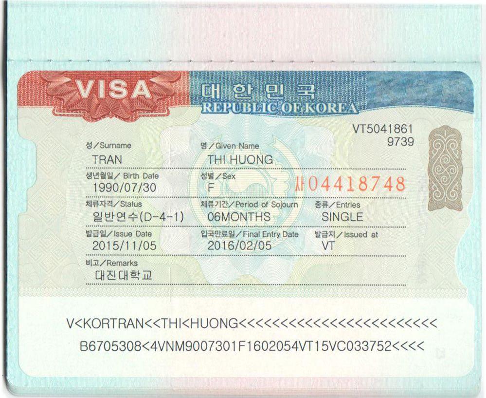 visa du học Hàn Quốc D4-1