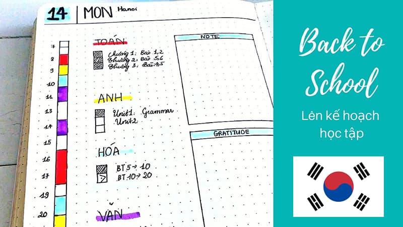 Bảng kế hoạch học tập tại Hàn Quốc