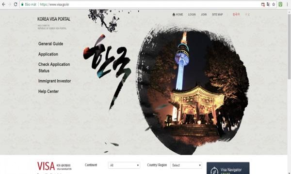 Màn hình hiển thị trang tra cứu visa du học Hàn Quốc.