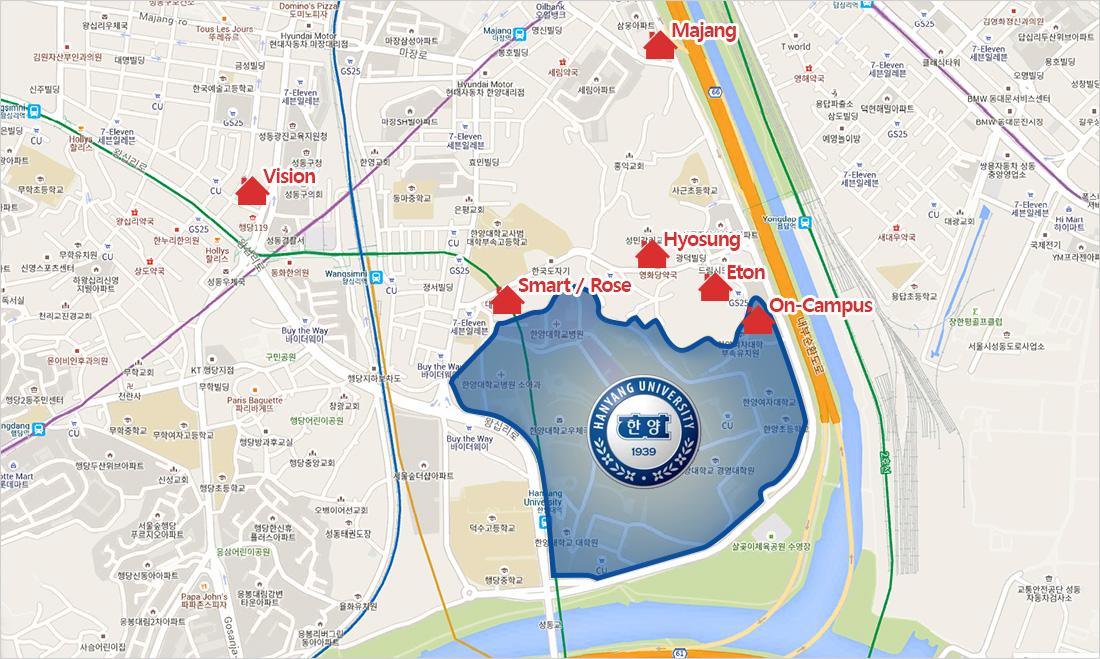 Sơ đồ các điểm ký túc xá trường Đại học Hanyang