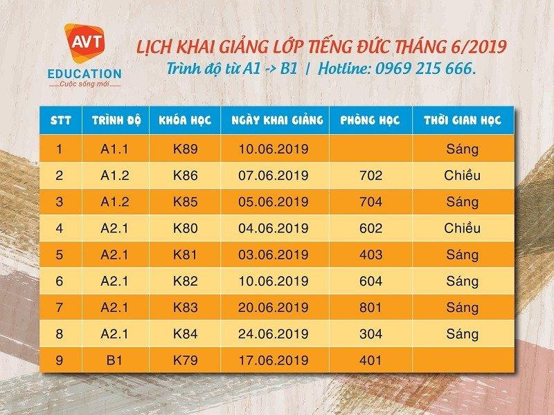 Lịch khai giảng tháng 6 tại Hà Nội