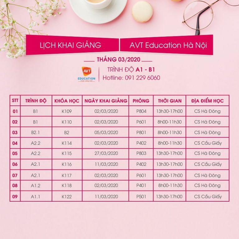 Lịch khai giảng tháng 3 tại AVT Education Hà Nội